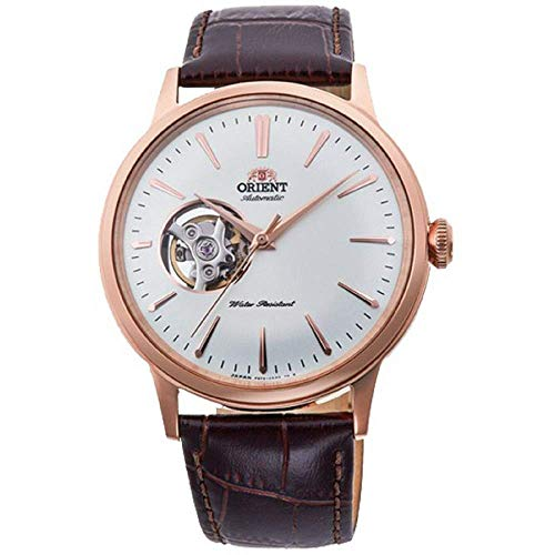 Orient Men's 'Bambino Open Heart' Japanese Automatic Stainless Steel and Leather Dress Watch, Color:Brown (Model: RA-AG0001S10A)