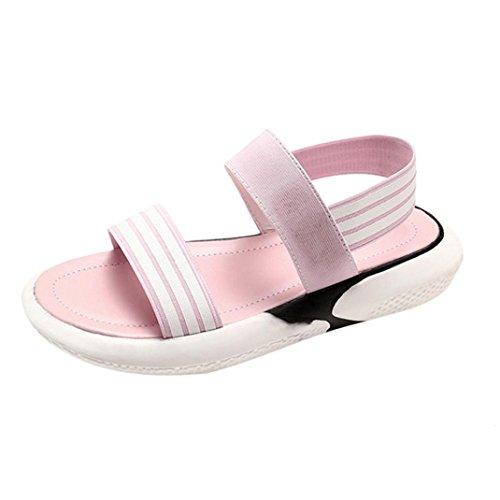 Sandalen Damen Sommer Elegant Flip Flops Stoff Shake Sandalen Runde Toe Stripe Flache Schuhe (34, Rosa) (Stripe Wedge Sandals)