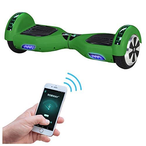 Robway W1 Hoverboard - Das Original - Samsung Marken Akku - Self Balance - 22 Farben - Bluetooth - 2 x 350 Watt Motoren - App - Led (Grün Matt)