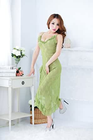 Itas Lingerie de Femme Sexuelle Erotique /Longue Robe de Nuit Fendue Moulante avec le Col en forme de V (Vert)