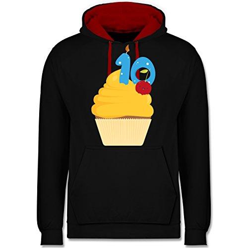 Geburtstag - 10. Geburtstag Cupcake - Kontrast Hoodie Schwarz/Rot