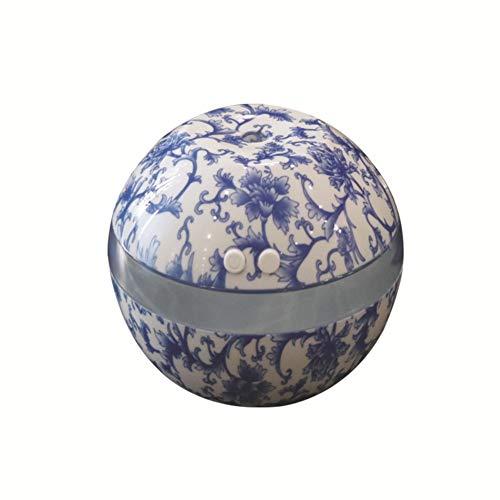 Etopfashion Humidificador ultrasónico para el hogar Mini Coche 300ml Humidificador de Porcelana portátil Azul y Blanco antiestático a Prueba de Polvo para Habitaciones de niños