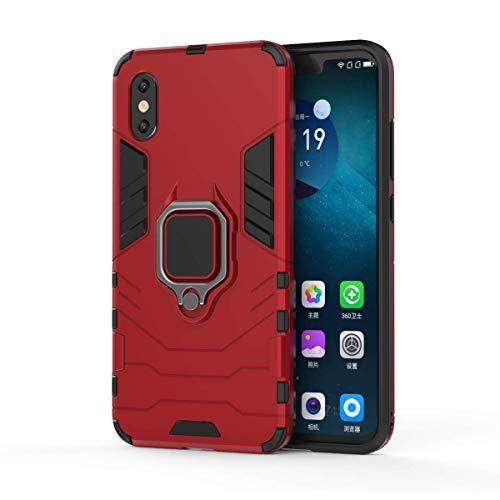 Funda Xiaomi Mi 8 Pro Carcasa Silicona Suave Negro TPU y Duro PC Case Anti-Arañazos, Anti-Golpes, con Anillo Grip Kickstand y Soporte de la función de Montaje teléfono Case (Mi 8 Pro, Rojo)
