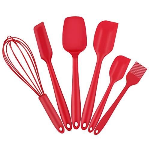 Henshow Spatel Silikon Backen Set 6, Premium Antihaft Hitzebeständige Silikon Küchenutensilien Kochset | Schneebesen Silikon | Pinsel Silikon, Rote Farbe