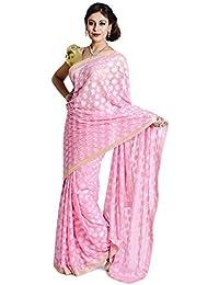 Ethnic Bliss Lifestyles Women's Chiffon Saree Without Blouse Piece (Eblphknew-Sr-Lp-1 _Light Pink)