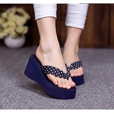 zhENfu Scarpe donna PVC tacco piatto infradito pantofole per esterno nero / blu / rosso / Tan Blue