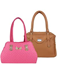 Element Cart Women Pink And Brown Colour PU Material Pack Of 2 Hand Bags