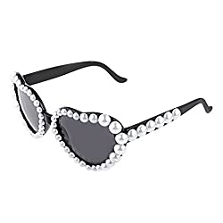 Generic Heart Glasses Fancy Dress Hen Stag Costume Party Pearl Sunglasses