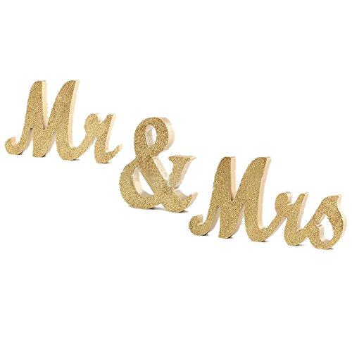 artstore Holz Mr & Mrs Zeichen, Vintage Glitzer freistehend Buchstaben für Hochzeit Sweetheart Tisch oder Empfänge Tischdekorationen, Gold gold