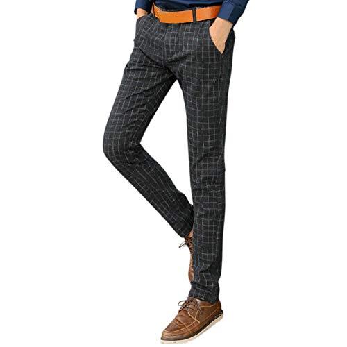Pantalones De Traje Elástico Slim Fit Pantalones De Mezclilla De Clásico Hombre Pantalones Casual De Negocios Pantalones De Cuadros Pantalones De Ocio Pantalones De Color Sólido Chicos