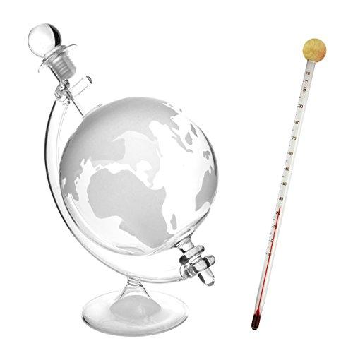 Lantelme Set Cognac - Likör - Weinbrand - Whisky - Wein Glas Caraffe mit Glasthermometer Karaffe mit Globus/Weltkugel und Thermometer zur Temperaturmessung in Karaffe oder Flasche