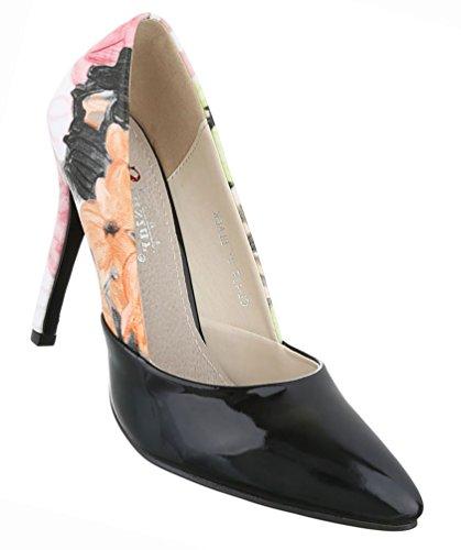 Damen Schuhe Pumps High Heels Stiletto Schwarz Multi Schwarz