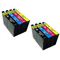 8 Inks (2x T1291 2x T1292 2x T1293 2x T1294), 2 sets of Multipack T1295 Printer Ink cartridge compatible for Epson Stylus SX420W SX425W SX440W SX445W SX525WD SX535WD SX620FW and Stylus Office B42WD BX305F Office BX305FW BX 305 FW Plus BX320FW BX525WD BX535W BX625FWD BX630FW BX635FWD BX925FWD BX935FW WorkForce WF-7015 WF-7515 WF-7525 Printers
