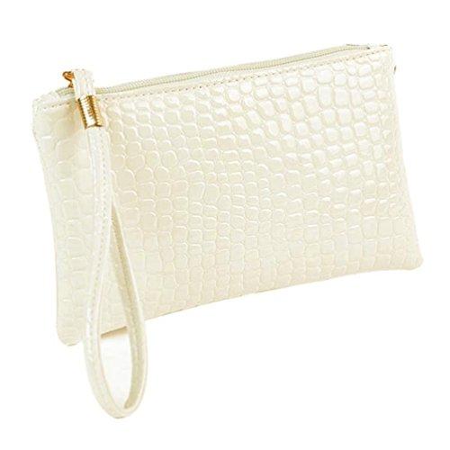Amlaiworld Frauen Crocodile PU Leder Clutch Handtasche Tasche Geldbörse (Weiß)