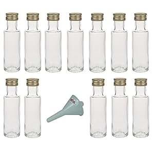 viva haushaltswaren 12 mini glasflaschen mit schraubverschluss schlanke form 100 ml zum. Black Bedroom Furniture Sets. Home Design Ideas
