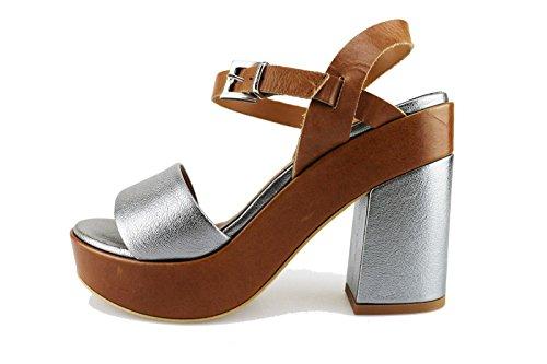 JEANNOT sandali donna 39 EU marrone pelle argento AG554