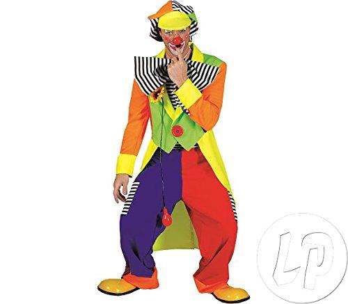 Kostüm Hut Olaf - Komplettes buntes Clown Kostüm + gratis Schminke Herren Clownkostüm mit Hut, Hose, riesen Krawatte Größe 52/54