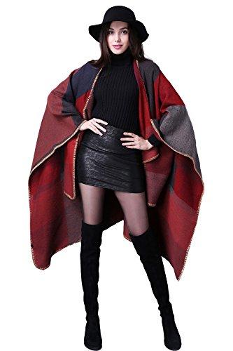 Damen Poncho Herbst Winter Kariert Capes Patchwork Strickjacke Mehrere Funktion (One Size, Plaid / (Rot Cape Damen)