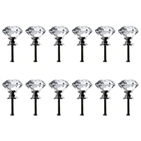 Neewer 30mm Clear Crystal Glass Diamond Shape Door Knob Drawer Pull Handle for Cabinet, Drawer, Cupboard, Wardrobe Home Decoration (12Pack)