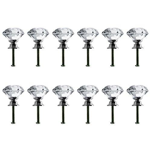 Neewer® 30mm / 1.18Zoll Klar Kristallglas Diamant-Form-Türknauf Schubladenausziehführung für Schrank, Schublade, Schrank Griff, Schrank Hauptdekoratio -
