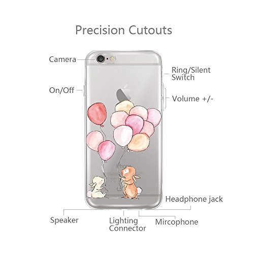 Qissy® TPU Cover iPhone 6 / 6S 4.7 pollici Custodia Bumper Morbida Crystal Clear TPU Silicone blue Elephant 8