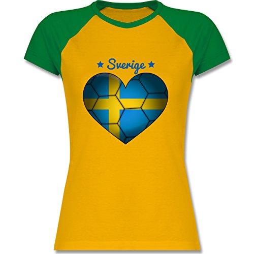 Shirtracer Handball - Handballherz Schweden - Zweifarbiges Baseballshirt/Raglan T-Shirt für Damen Gelb/Grün