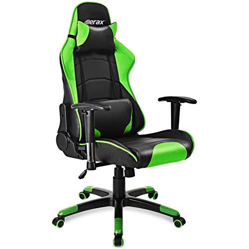 merax. Gaming Stuhl Racing Stuhl Chefsessel,Drehstuhl PU mit Kunstlederbezug & lendenkissen/verstellbare Armlehnen & Rückenlehne (Grün)