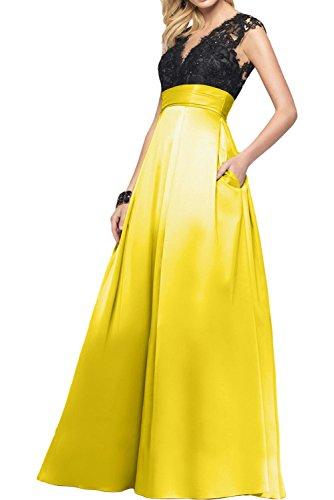 Gorgeous Bride Klassisch V-Ausschnitte Empire Satin Spitze Abendkleider Lang Festkleider Ballkleider Gelb