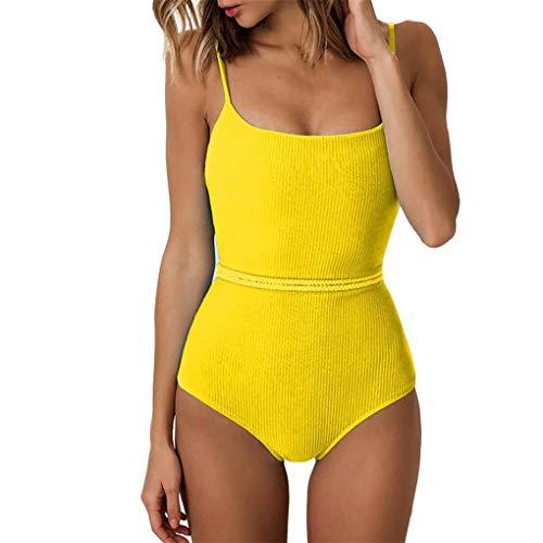 Dorical Damen Badeanzüge Bauchweg Einteiler Figurformend Tankini Push Up Monokini Bademode Shape Einfarbig Badeanzug Badesachen S-L Rabatt(Gelb,Small)