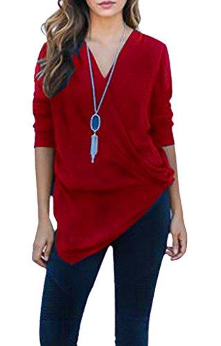 Smile YKK Femme Irrégulière T-Shirt Vogue Pull Col V à Manche Longue Bordeaux