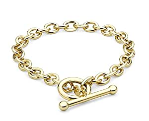 """Carissima Gold 9ct Yellow Gold Oval Belcher T-Bar Bracelet of 18cm/7"""""""