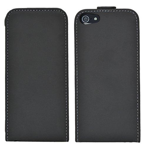 Premium Flip Style Tasche für iPhone SE / iPhone 5S / iPhone 5 Hülle Case in schwarz Schwarz