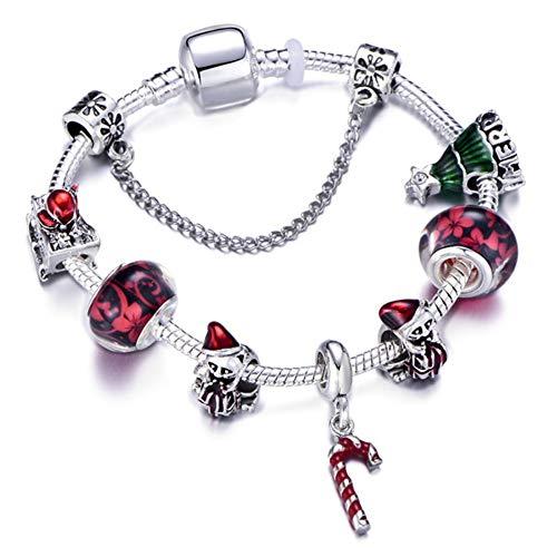 Mädchen Armband, Kristall Armband, Armband Gewebt,Rote Blume Zubehör Silber Schlangenkette Armband Für Mädchen Schöne Weihnachten Glocke Hut Schneemann Anhänger Weihnachtsmann Feine Armband, Geb (Mädchen Hut Weihnachten)