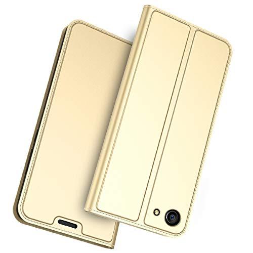 FugouSell Oppo A83 Leder Hülle, Premium PU Leder etui Schutzhülle Tasche mit Kippständer, Slim Flip Case Cover für Oppo A83(Golden)