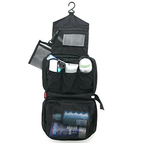 Kulturbeutel / Kulturtasche zum Aufhängen für Damen und Herren / Faltbare Kosmetiktasche / Waschbeutel (Schwarz)