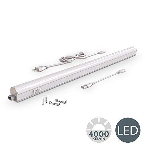 Lampada sottopensile cucina LED, luce bianca naturale 4000K, LED integrati da 15W, lunghezza 87.3cm, interruttore on off, plastica, lampada moderna collegabile con lampade uguali, 230V IP20