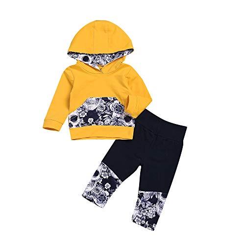 feiXIANG Babykleidung 2er Set Baby Mädchen Jungen Blumendruck Süß Hoodie Tops Mit Kapuze Hosen Outfits Set (Gelb,70)
