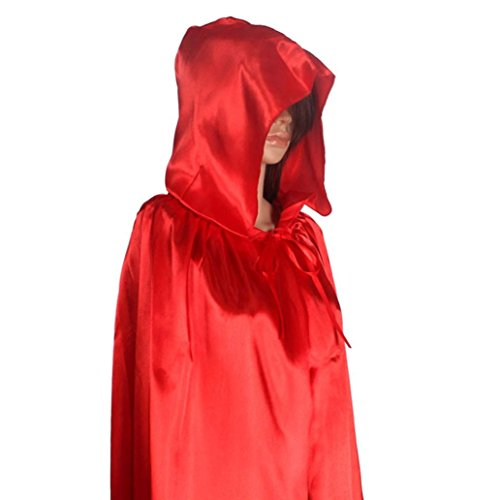 Amlaiworld 1pc con cappuccio mantello cappotto Wicca Robe Per Halloween Party Rosso