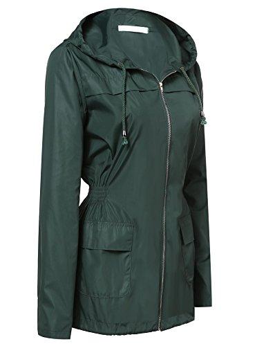 mymotto Frauen Wasserdicht Atmungsaktiv Softshelljacke Mit Kapuze Regenjacke Regenmantel Windjacke Armeegrün