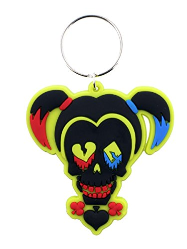 Suicide Squad Harley Quinn Skull Rubber PVC Keyring Official DC Comics Batman