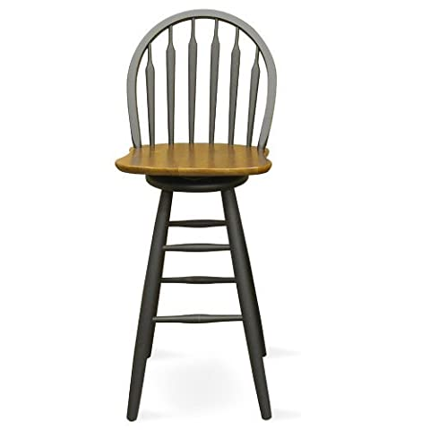 International Concepts S57-613 30-Inch Windsor Arrow Back Swivel Bar Stool, Black/Cherry by International Concepts