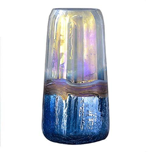 Vasen Blauer Eisriss Heller Behälter Kreative Transparente Glasverzierungen Hauptschlafzimmerdekorationen Wohnzimmer-Tischplattenhandwerk Geschenke (Color : Blue, Size : 18 * 10.5 * 34cm)