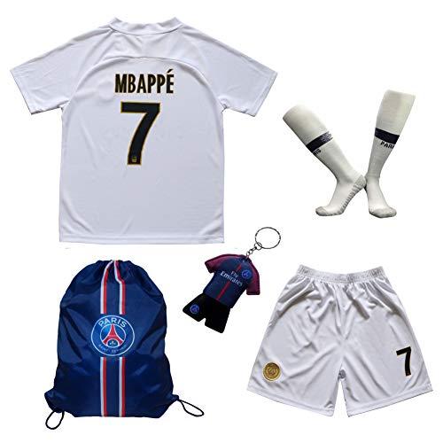 2018/2019 Paris #7 MBAPPE Auswärts Kinder Fußball Trikot Hose und Socken Kindergrößen (24 (7-8 Jahre))