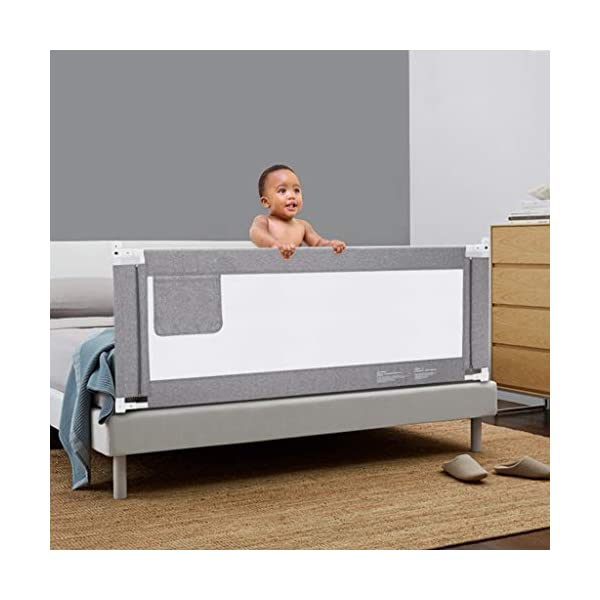 Playpens Crib Guardrail Baby Shatter-resistant Fence Large Bed 1.2-2.2 Meters Children Against Bedside Baffle (color : A, Size : 1.8m) Playpens ★ high quality non-toxic materials,Size:120cm/150cm/180cm/200cm/220cm ★ Vertical lift structure: no space is occupied, and it is more convenient to enter and exit. Push the fence down at the push of a button ★ height adjustment: can be adjusted according to the thickness of the mattress, so that the bed is close to the mattress. Avoid gaps between the mattress and the guardrail to prevent your child from falling 2