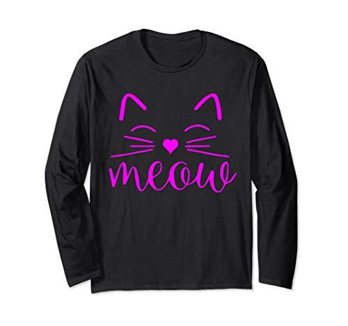 Cat Kostüm Crazy Halloween Lady - Meow Niedliches Katzengesicht Lustiges Kostüm Langarmshirt
