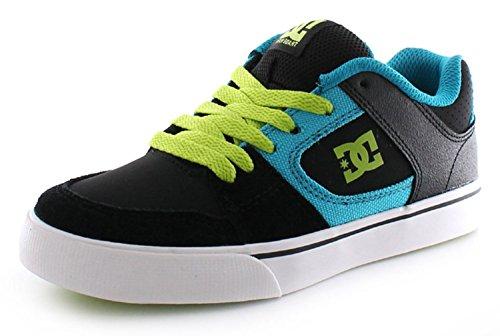 New Boys/Childrens Black Suede Dc Blitz Lightweight Skate Shoes - Black/Turq/Green - UK SIZE 5
