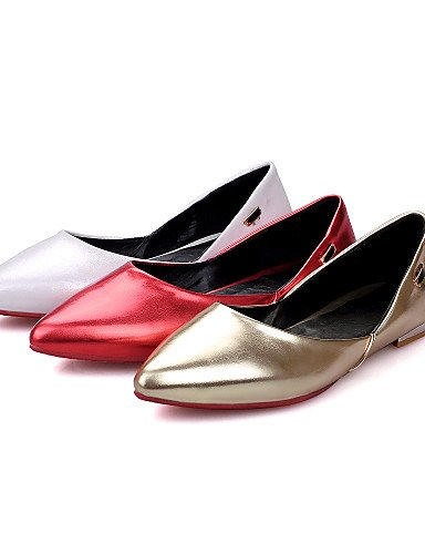 WSS 2016 Chaussures Femme-Habillé / Décontracté-Rouge / Blanc / Or-Talon Bas-Talons / Bout Pointu-Talons-Similicuir golden-us8.5 / eu39 / uk6.5 / cn40