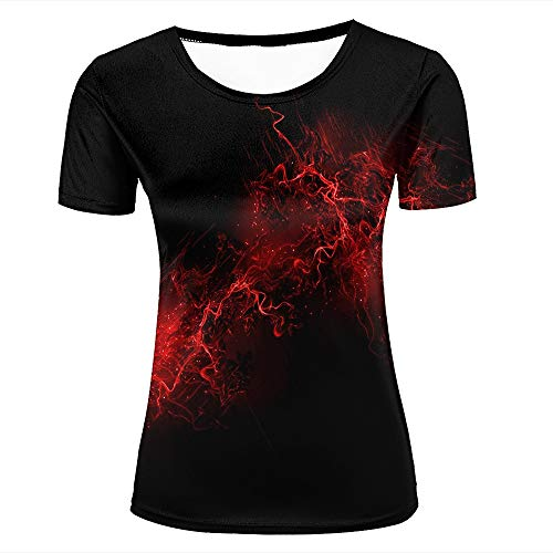 Womens 3D Printed T-Shirts Red Light Cardiogram Black Background Creative Novelty Short Sleeve Tops Tees S -