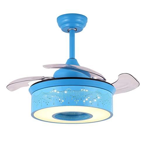 SUA ONG Ventiladores de Techo LED con lámpara, lámpara con Ventilador Creativo, iluminación del Colgante del Ventilador Invisible del Restaurante del Dormitorio de la habitación Infantil, Interruptor