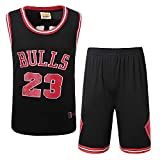 BUY-TO Stiere Nr. 23 Jersey NBA Shorts Basketball Uniform Anzug,Black,S